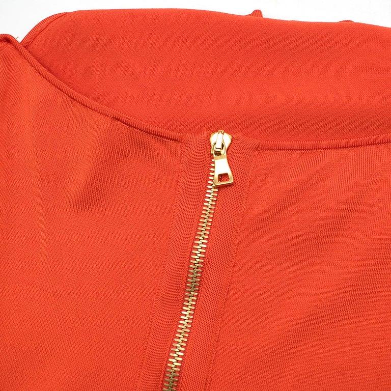 Balmain orange lace-up halterneck midi dress US 8 In Good Condition For Sale In London, GB