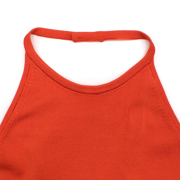Women's Balmain orange lace-up halterneck midi dress US 8 For Sale