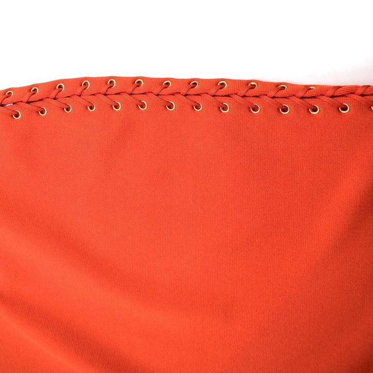 Balmain orange lace-up halterneck midi dress US 8 For Sale 1