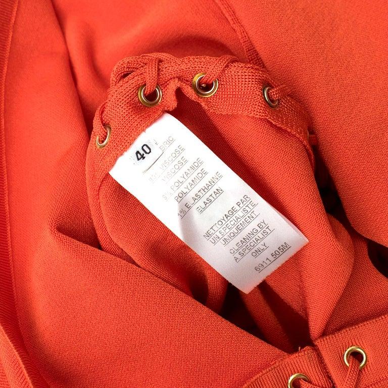 Balmain orange lace-up halterneck midi dress US 8 For Sale 2