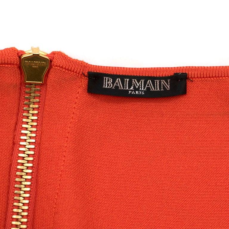 Balmain orange lace-up halterneck midi dress US 8 For Sale 4