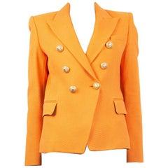 BALMAIN orange wool SIGNATURE DOUBLE BREASTED Blazer Jacket 38