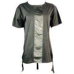 BALMAIN Paris Black Cotton and Leather T- shirt w/ Zipper Size M