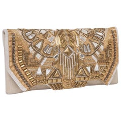 Balmain 'Patricia' Clutch in Aged Off-White Embroidered Leather