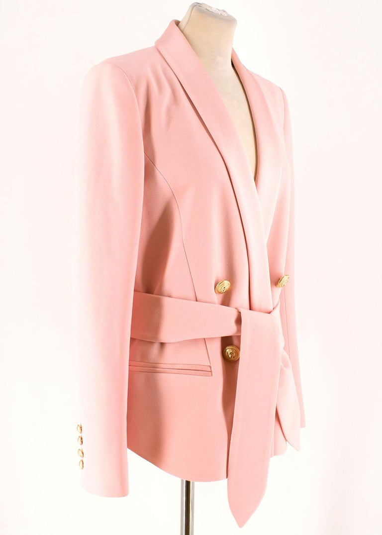 b8feb968 ... Current US 10 For Sale. Balmain Pink Belted Double-Breasted Crepe Blazer  -Pink double breasted blazer -Belt with