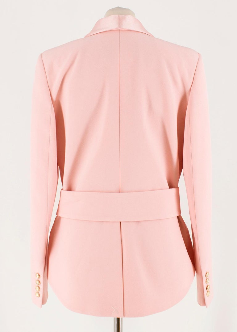 990e8c66 Orange Balmain Pink Belted Double-Breasted Crepe Blazer - Current US 10 For  Sale