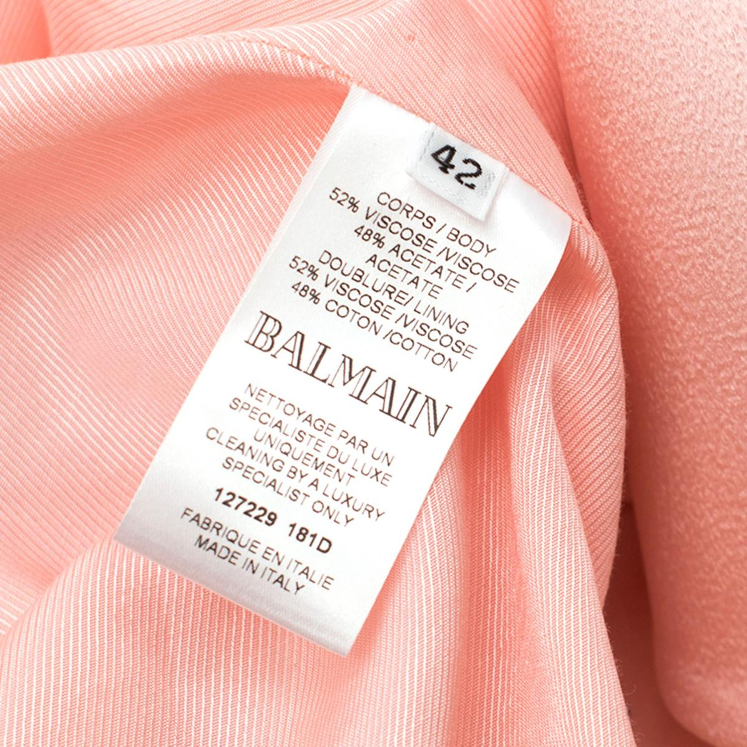 1d77e6ff Balmain Pink Belted Double-Breasted Crepe Blazer - Current US 10 at 1stdibs