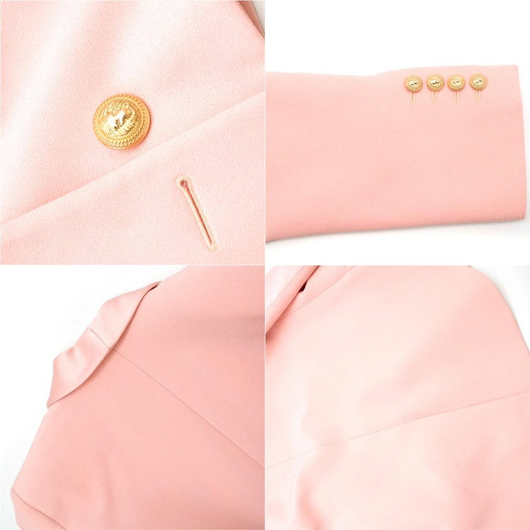 9b077220 Balmain Pink Belted Double-Breasted Crepe Blazer - Current US 10 For Sale 3