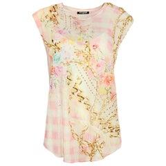 Balmain Pink Sleeveless Printed Linen Top w. Gold Lion Buttons FR42/ US10
