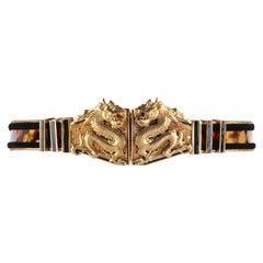 BALMAIN Pre Fall 2013 Gold Double Dragon Buckle Tortoiseshell Print Waist Belt