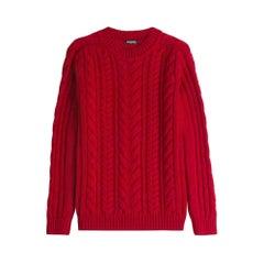 Balmain Pull en Grosse Maille De Laine Red Sweater