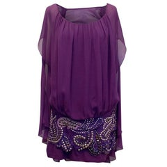 Balmain Purple Embellished Silk Dress Size 38