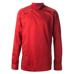 Balmain Red Asymmetrical Button Long Sleeve Shirt