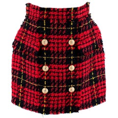 Balmain Red & Black Tweed Skirt with Golden Buttons  - Size US 10