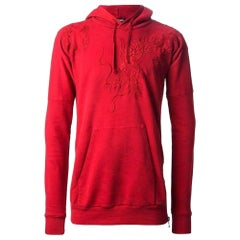 Balmain Red Dragon Embroidered Cotton Knit Hoodie Sweater