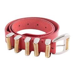 BALMAIN red leather Hip Belt 90