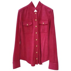 BALMAIN Red Suede Gold Buttons Blouse Shirt