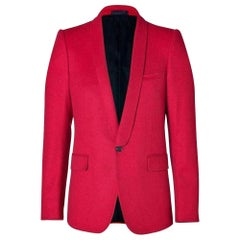 Balmain Red Wool One Button Blazer Jacket