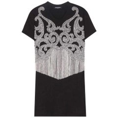 BALMAIN Rhinestone& Crystal Fringe Black Cotton Shirt FR38 US4-6