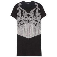BALMAIN Rhinestone& Crystal Fringe Black Cotton Shirt FR40 US6-8