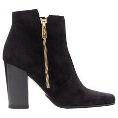 BALMAIN ROUSTEING black suede point toe dual gold zip chunky heel bootie EU36