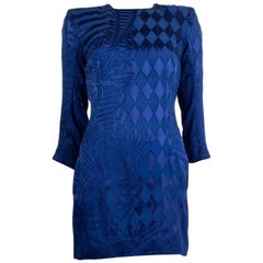 BALMAIN royal blue viscose DEVORE MINI Dress 38