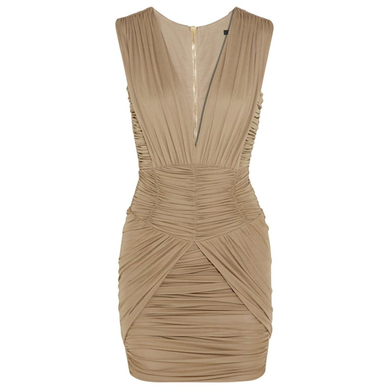 Balmain Ruched Stretch-Jersey Mini Dress For Sale