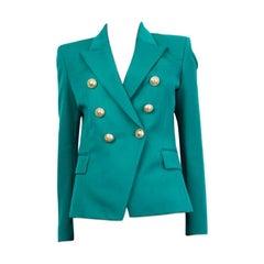 BALMAIN sea green wool SIGNATURE DOUBLE BREASTED Blazer Jacket 38