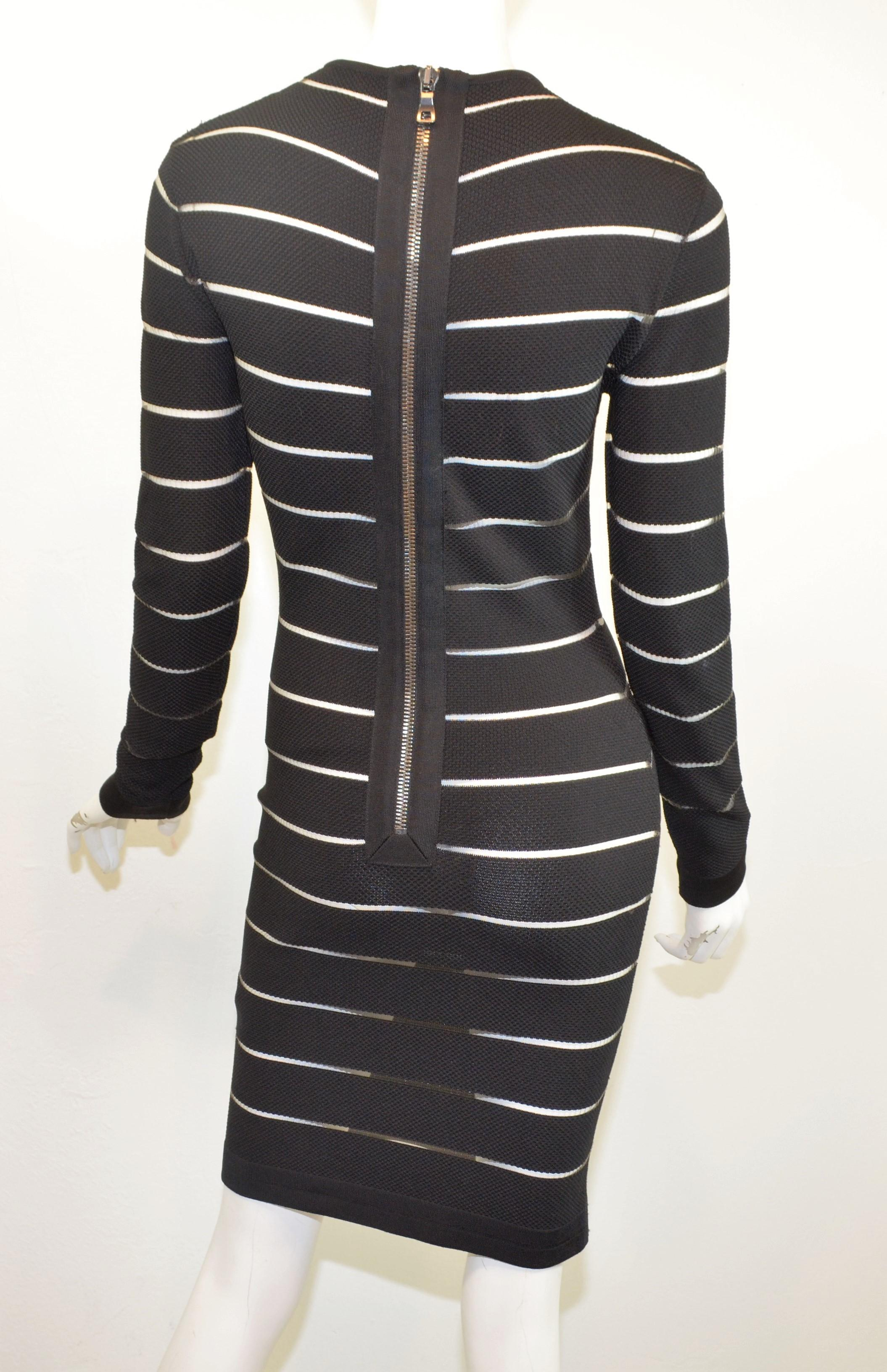 af3feb6d Balmain Sheer Striped Bodycon Dress For Sale at 1stdibs