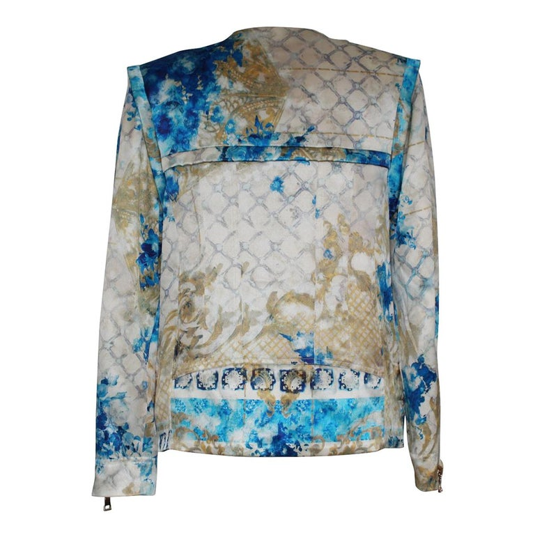 Amazing Balmain jacket Silk Gold, ivry and blue color Fancy fabric Side zip Four pockets  Lengt shoulder / hem cm 60 (23.6 inches) Shoulder cm 40 (15.7 inches) WORLDWIDE EXPRESS SHIPPING INCLUDED IN THE PRICE !