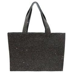Balmain Silver-Tone & Black Studded Tote Bag