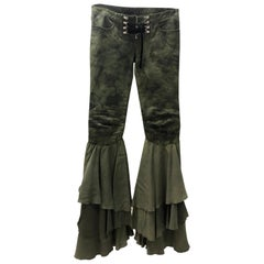 Balmain Skinny Bellbottom Camo Pants Runway Lace-up Biker Jeans