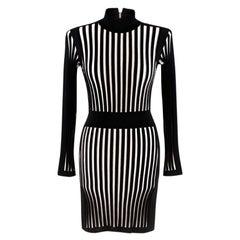 Balmain Striped Stretch-knit Mini Dress XS 36