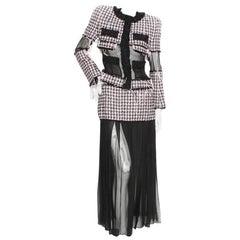 Balmain Tweed Chiffon Skirt Jacket Set