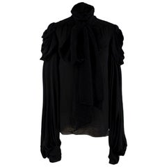Balmain Vintage Black Silk Draped Long Sleeve Top - Size US 6