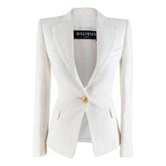 Balmain White Jacquard Blazer FR 34