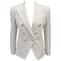 Balmain White & Light Blue Tweed Jacket 44 EU