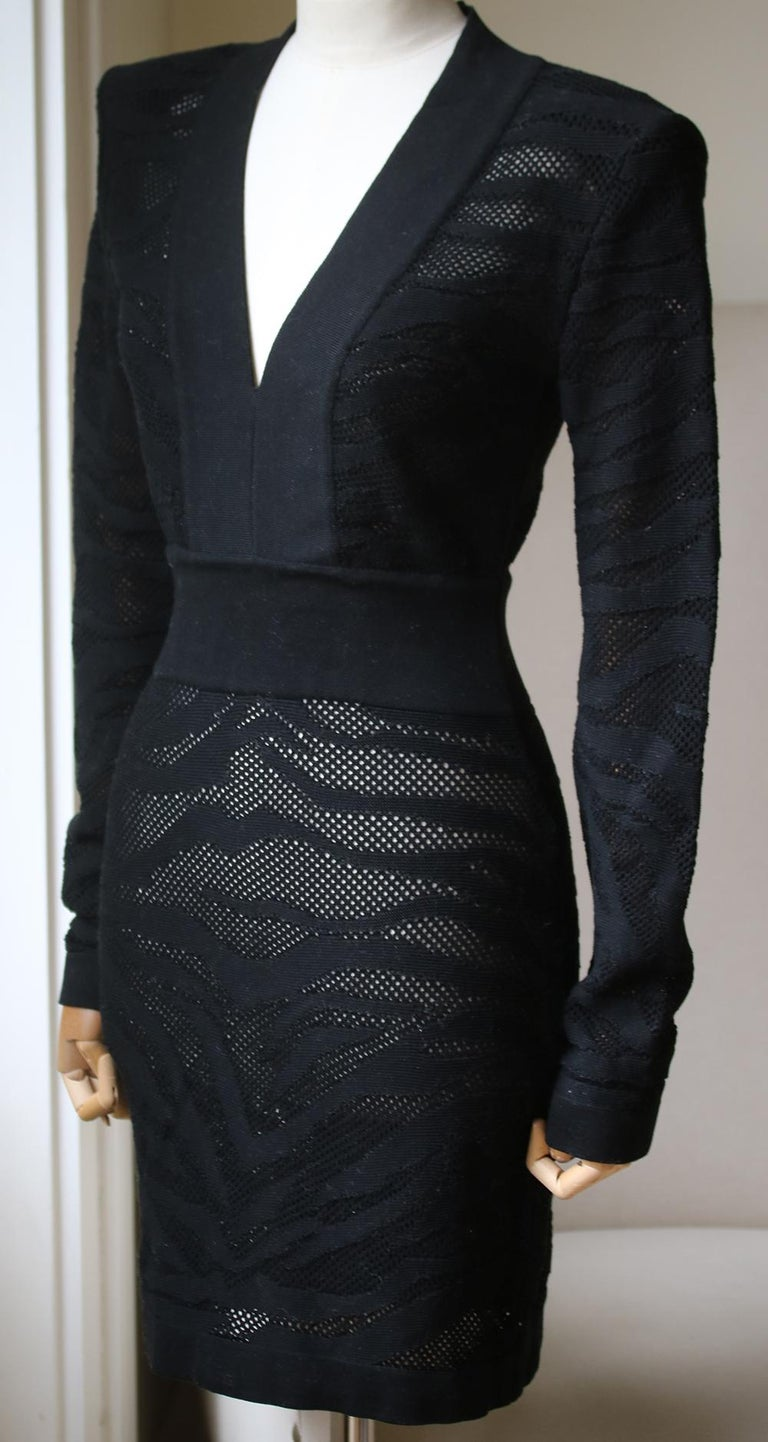 Black Balmain Zebra-Print Cotton Mini Dress  For Sale