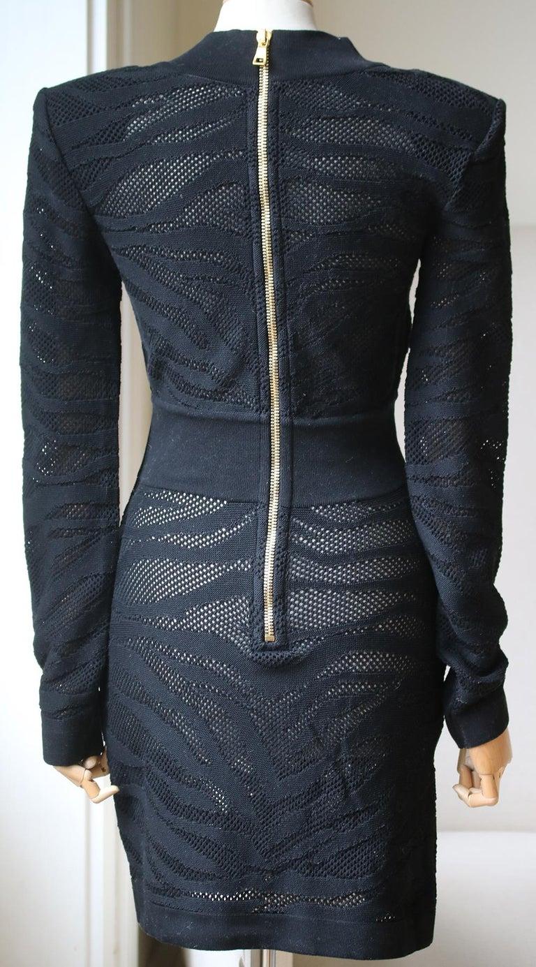 Balmain Zebra-Print Cotton Mini Dress  In Excellent Condition For Sale In London, GB