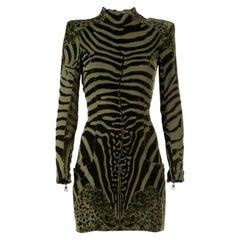 Balmain Zebra Velvet Devore Dress