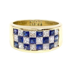 Balogh 18 Karat Diamond and Blue Sapphire Checkerboard Ring