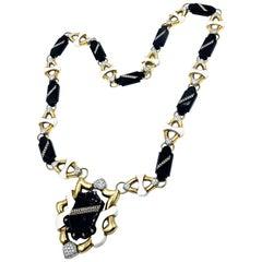 Balogh 18 Karat Long Onyx Enamel and Diamond Sautoir Necklace