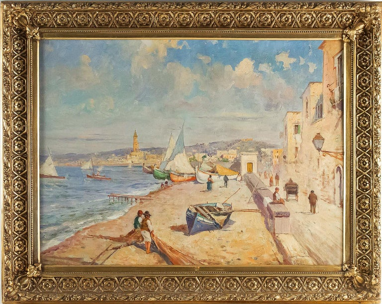 An excellent oil on canvas depicting an Italian Marine Landscape of the 1910s.  Exciting writing of this very appreciated estimated young painter.  Our painting in fine original condition signed on a lower right, and it is in its original