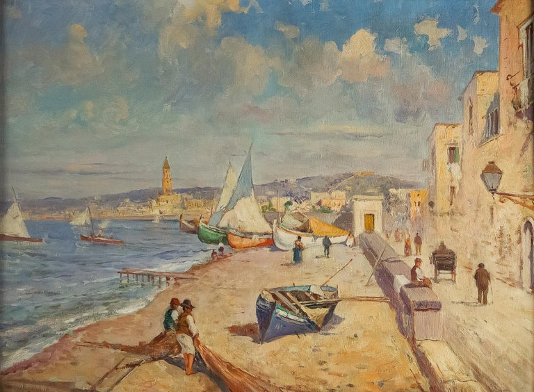 Oiled Balsamo Salvatore, Oil on Canvas Italian Marine Landscape, circa 1910 For Sale