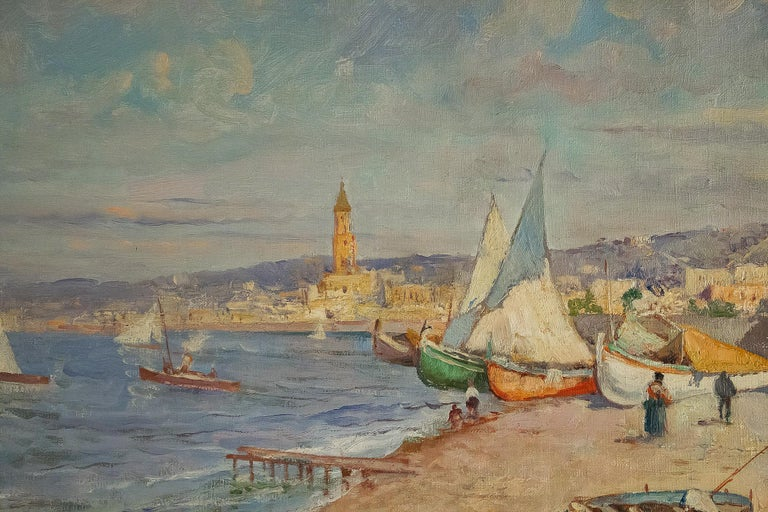 Balsamo Salvatore, Oil on Canvas Italian Marine Landscape, circa 1910 In Good Condition For Sale In Saint Ouen, FR