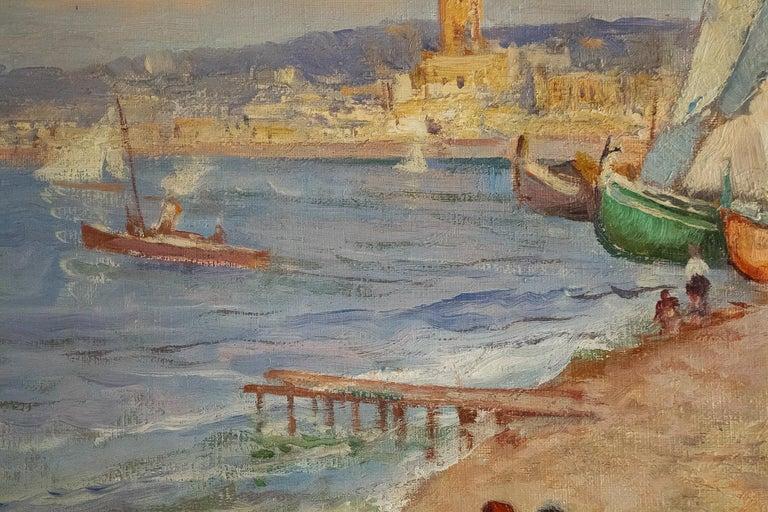 20th Century Balsamo Salvatore, Oil on Canvas Italian Marine Landscape, circa 1910 For Sale