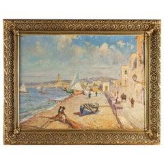 Balsamo Salvatore, Oil on Canvas Italian Marine Landscape, circa 1910