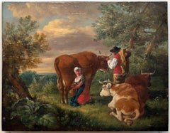 Bucolic Landscape - Original Oil on Panel Attributed by B. Ommeganck - Late 1700