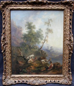 The Goat Herd - Dutch 18thC art Old Master oil panel pastoral mountain landscape