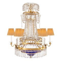 Baltic 18th Century Neoclassical Style Ormolu, Crystal and Chandelier